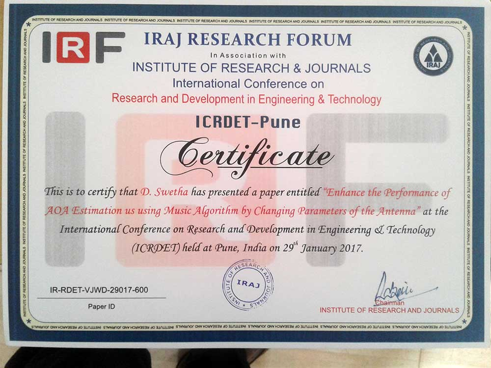 btech ECE-A project students participated in international conference 4