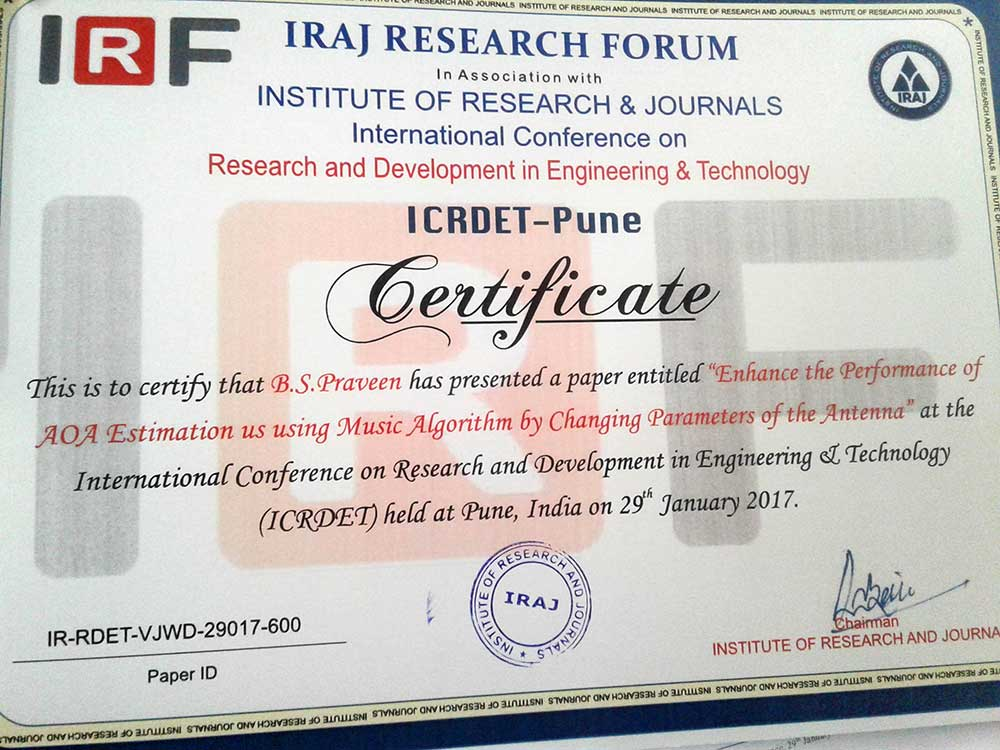 btech ECE-A project students participated in international conference 5