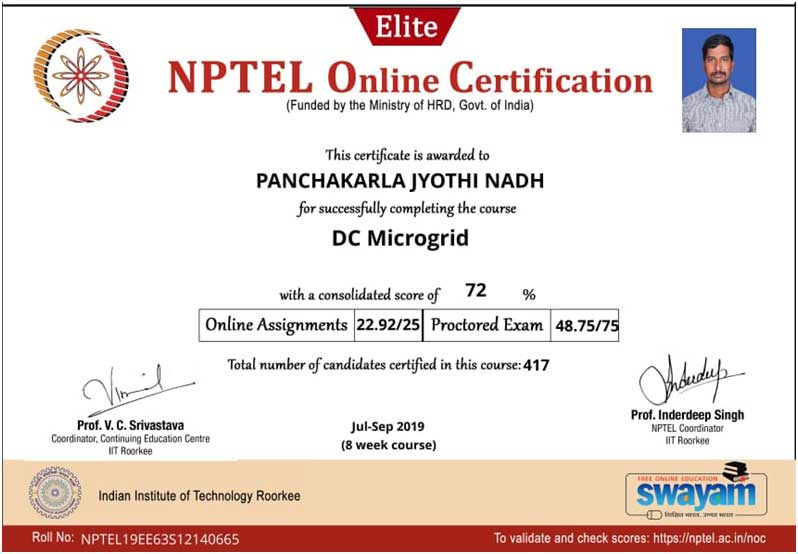 Faculty Attended Nptel Course Usharama Edu In Urce