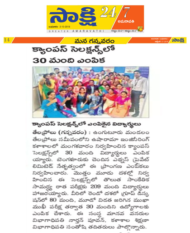 ethuns campus recruitment oct 2018 Sakshi