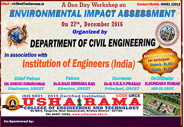 One day workshop on Environmental Impact Assessment by Civil Dept on 27-12-2016