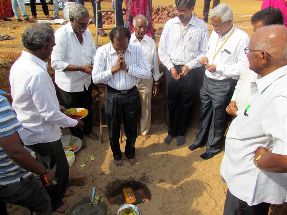Foundation laid for Goddess Saraswathi temple in the college premises